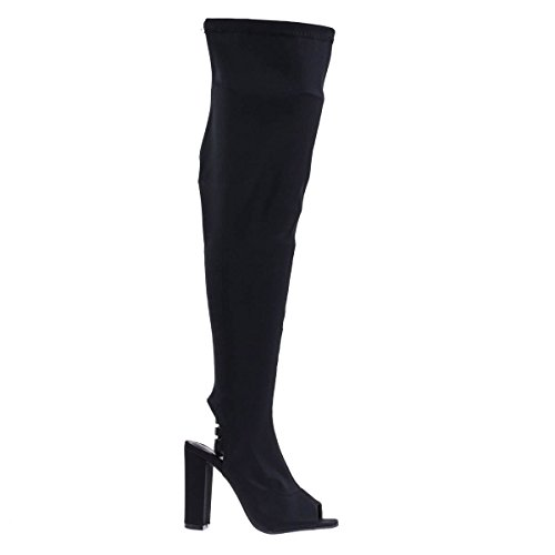 Peep Toe Knee High Boot, Chunky Block Heel, Inner Zipper, Elastic Shaft Black