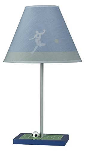 Blue 60 Watt 21in. Kids/Youth Wood Soccer Table Lamp with On/Off Switch from The Kids Collection