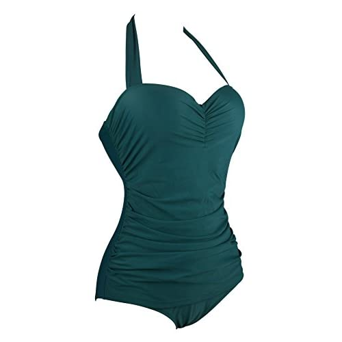 Aixy Women Vintage Retro Bathing Suit One Piece Monikini Swimsuit