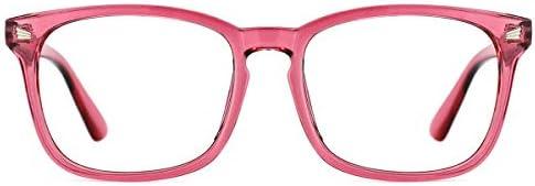 TIJN Blue Light Blocking Glasses Square Nerd Eyeglasses Frame Computer Game Glasses