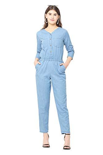 Avyanna Stylish Women's Blue Color Solid Denim Jumpsuit
