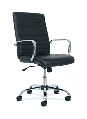 Chrome Office Desk - HON Sadie Executive Computer Chair- Fixed Arm for Office Desk, Black Leather with Chrome Accents (HVST511)