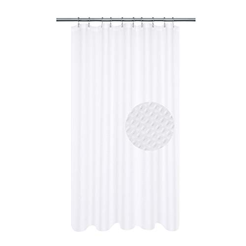 Fabric Shower Curtain 60 x 72 inch, Waffle Weave, Hotel Collection, 230 GSM Heavyweight, Water Repellent, Machine Washable, White Pique Pattern Decorative Bathroom Curtain