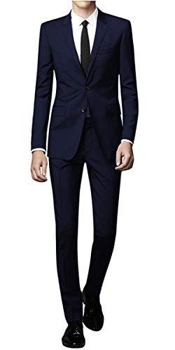 WEEN CHARM Men's Suit Slim Fit 2-Piece Two Buttons Coat Tuxedo Single Breasted Jacket Business Wedding Blazer Navy