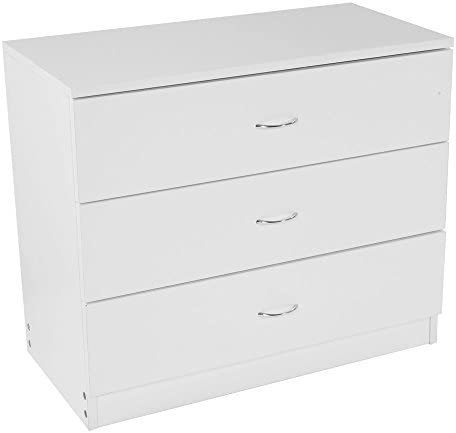 Set of 2 Nightstand White Wide 3 Drawers Dresser Wooden Storage Cabinet Drawers Chest Night End Table