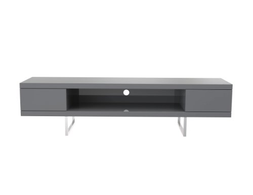 (Euro Style Miranda High Gloss Lacquered Media Stand, Gray with Polished Stainless Steel)