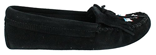 Minnetonka Womens Thunderbird Softsole Mocassino Nero