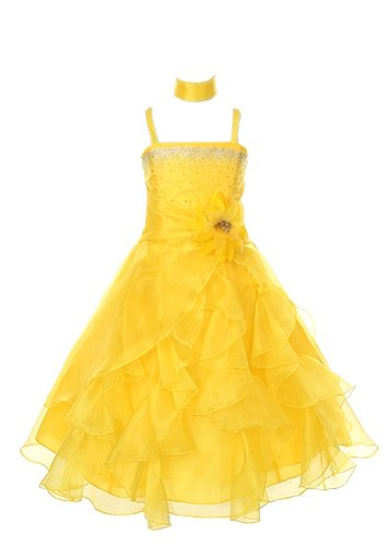 Cinderella Couture Crystal Organza Girl Dress-Yellow-6 (Couture Kids Disney)