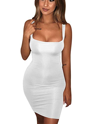 BORIFLORS Women's Casual Basic Tank Top Sexy Sleeveless Bodycon Mini Club Dress,X-Large,White