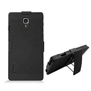 For LG Optimus F7/US780 (Boost Mobile/US Cellular) Dual Rubberized w/Clip, Black
