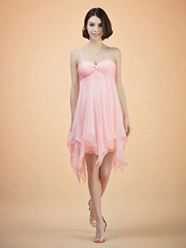 Prom Short Alicepub Pink Empire Cocktail Bridesmaid Chiffon Dress Coral Party Gown Spaghetti BgIFqI0wOr