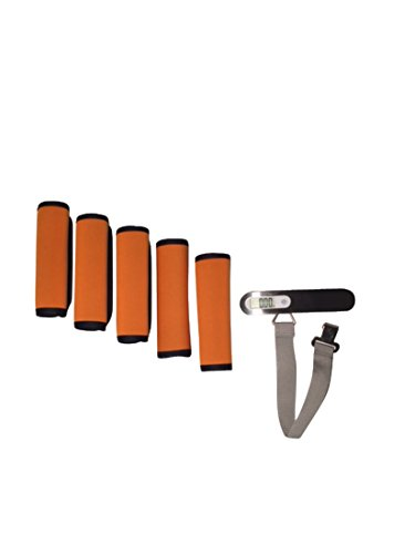 5 Piece Orange Soft Comfort Neoprene Luggage Handle Wrap with Digital Luggage Scale by TLB & Company
