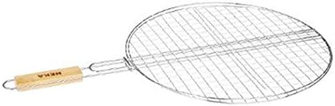 Double grille barbecue ronde D 50 x H 75 cm Métal chromé