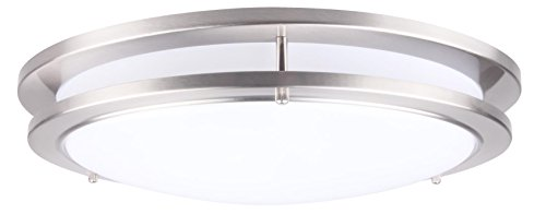 (CORAMDEO 15 Inch LED Flush Mount Ceiling Light Fixture, 27.5W Replace 200W, 1925 Lumen, Dimmable, Satin Nickel Finish, ETL/ES Rated )