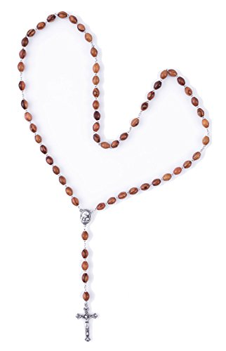 Rosary Silver Plated Cross (Olive Wood Rosary Necklace with Soil Capsule from Bethlehem & Silver Plated Jesus Cross - ROS040)