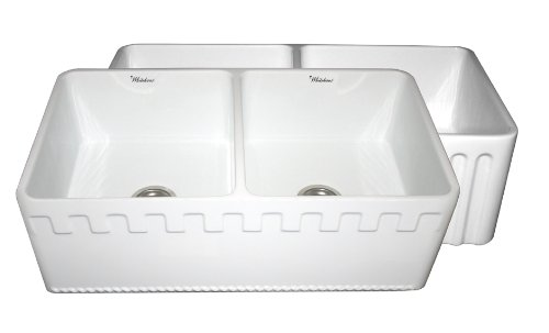 (Whitehaus WHFLATN3318 33-Inch Reversible Series Double Bowl Fireclay Sink with Athinahaus Front Apron One Side and Fluted Front Apron on Other)