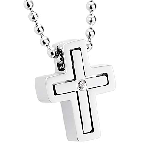 (ANAZOZ Jewelry Stainless Steel Cross CZ Silver Pendant Necklace for Women,Size:1.4x1.8CM)
