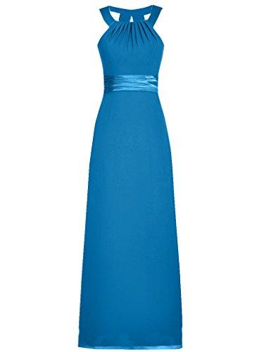 JAEDEN Mujeres Gasa cuello h¨¢lter Vestidos de dama de honor sin mangas Vestido de partido Vestidos de noche Azul