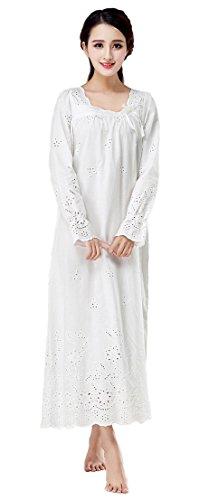 Soojun Women's 100% Cotton Victorian Style Eyelets Nightgown, White, Medium - Victorian Eyelet