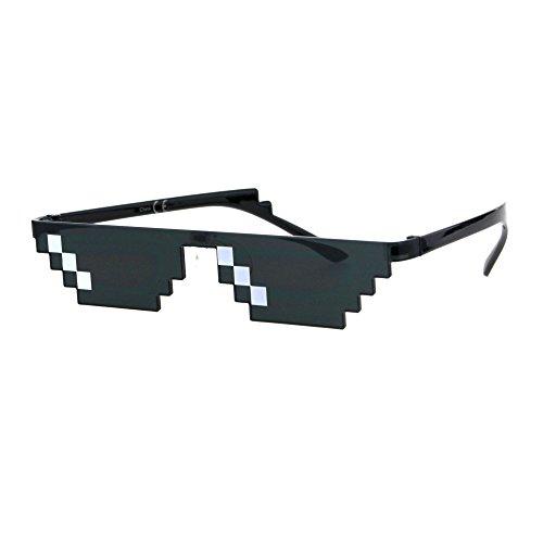 Flat Top Narrow Cat Eye Pixel Funky Party Shade Rimless Shield Sunglasses Black (3 Squares)]()