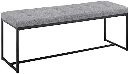 Walker Edison Modern Tufted Upholstered Entryway Cushion Hallway Metal Bedroom Bench Ottoman