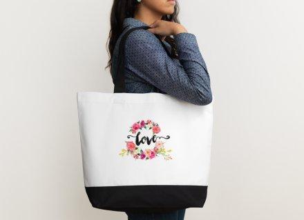 Heartfelt Hospitality ''Love'' Floral Watercolor Canvas Wedding Bride Tote Bag