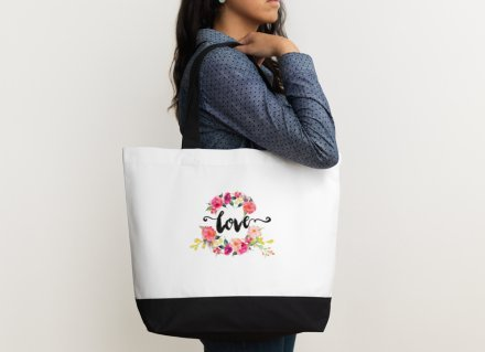Heartfelt Hospitality Love Floral Watercolor Canvas Wedding Bride Tote Bag