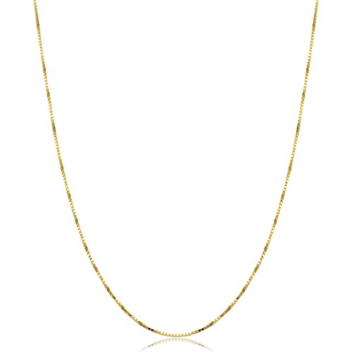 Chain Solid Box Necklace Gold (Solid 10k Yellow Gold Box Chain Necklace (0.7mm, 24 inch))