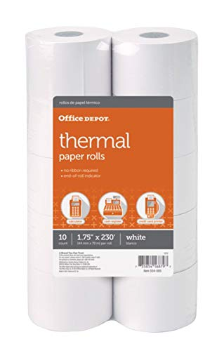 (Office Depot Adding Machine Thermal Paper Rolls, 1 3/4in. x 230ft, White, Pack Of 10 Rolls, 554085)
