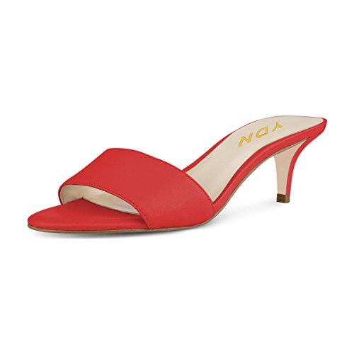 YDN Women Comfy Kitten Low Heel Mules Slip on Clog Sandals Open Toe Dress Pumps Slide Shoes Red 14 (5cm) (Mule Kitten)