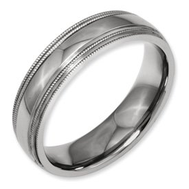 Bridal Titanium Grooved and Beaded Edge 6mm Polished Band