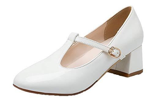 Con Zapatos Medio Tacón Charol Mujeres Hebilla Gmxdb006607 Agoolar De Sólido Blanco Tacón F5xqSwR0nA