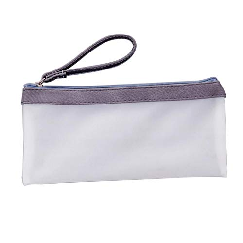 Translucent Jelly Glue Pencil Case Pen Pouch Stationery Storage Zipper Bag Gift - Gray