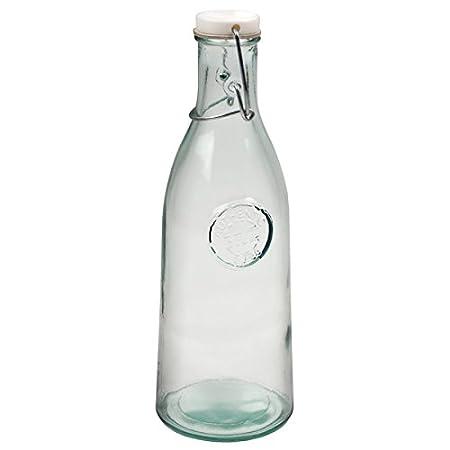 Fabricada a mano para botellas de cristal reciclado 1ltr - Vintage 100% reciclado verde botellas de cristal: Amazon.es: Hogar