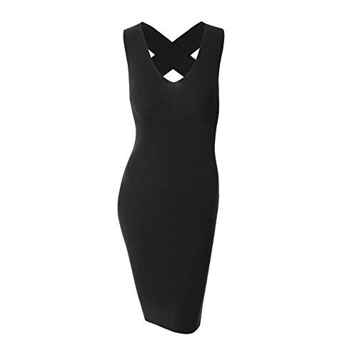 80store Abito Posteriore Vestito Croce Ladies Spandex s Mini Collo Aderente Fashion Del Delle Nero V Donne aqFwp5