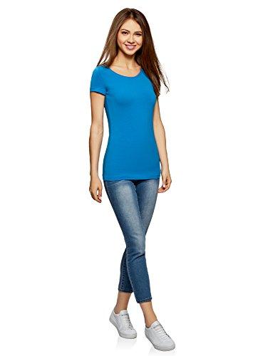 Aderente Ultra Blu Oodji Donna T 7501n Basic shirt wxX7P