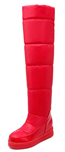 Idifu Womens Warme Volledig Namaakbont Gevoerd Midden Sleehak Kniehoge Snow Boots Lange Booties Rood