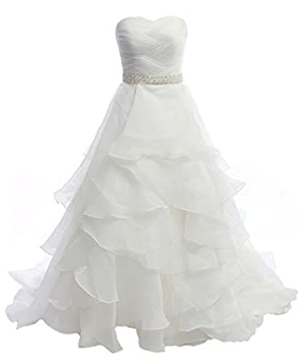 Oailiya Women's A Line Organza Crystals Wedding Dress