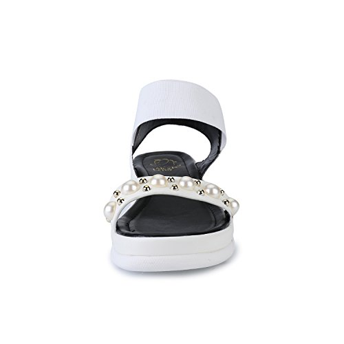 Alexis Leroy Women's Elastic Strap Pearl Decorated Platform Open Toe Sandals White 6KQtkQ