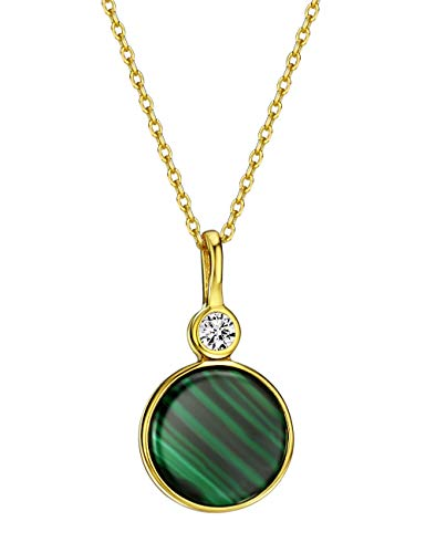 Mints 18K Golad Plated Silver Malachite Pendant Necklace with Cubic Zirconia Fine Jewelry for Women