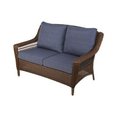 Superieur Spring Haven Brown All Weather Wicker Patio Loveseat With Sky Blue Cushions