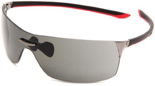 Tag Heuer Squadra 5502 Sport Sunglasses,Lava/Black/Red Frame/Grey Lens,one - Tag Heuer Sunglasses Pad Nose