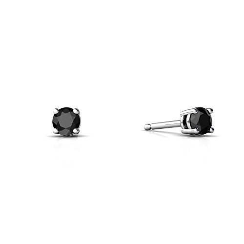14kt White Gold Black Onyx 3mm Round Round Stud Earrings