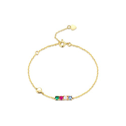 OMZBM Natural Gemstone Bracelet Women S925 Sterling Silver 9K Gold Plated Three-Circle Adjustable Buckle Heart-Shaped Tail Hand - Bracelet 9k Heart