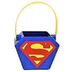 DC Superman - Figural Plastic Pail - Children Halloween Candy & Popcorn Pail (Pail Treat Plastic)