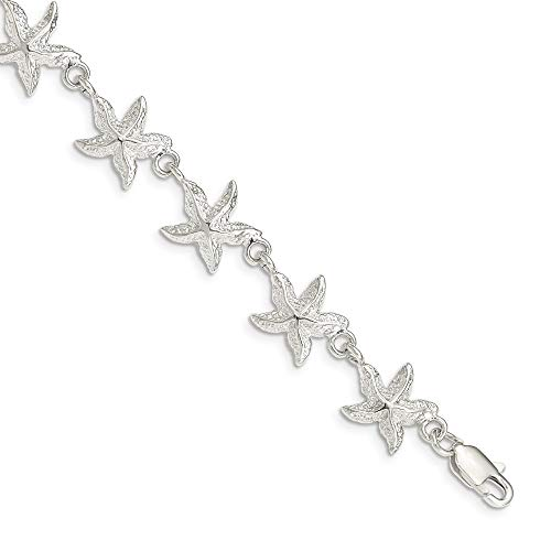 925 Sterling Silver Starfish Bracelet 7 Inch Seashore Fine Jewelry Gifts For Women For Her