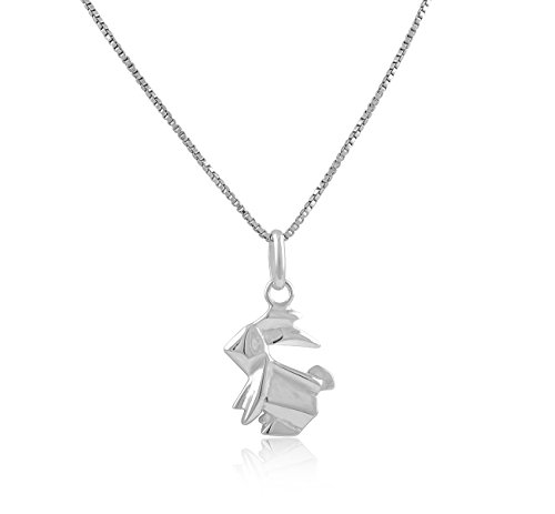 Sterling Silver Origami Bunny Rabbit - Silver 12mm Origami