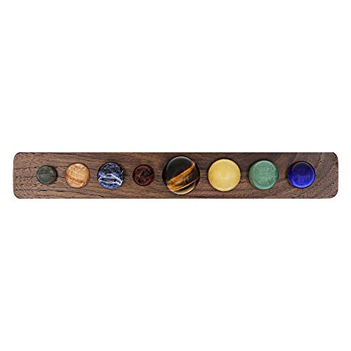 b9a634312291 Zhi Jin Set of 8 Different Natural Gemstone Planets Rocks Crafts with Black  Walnut Tray Handcrafted Decorative Present