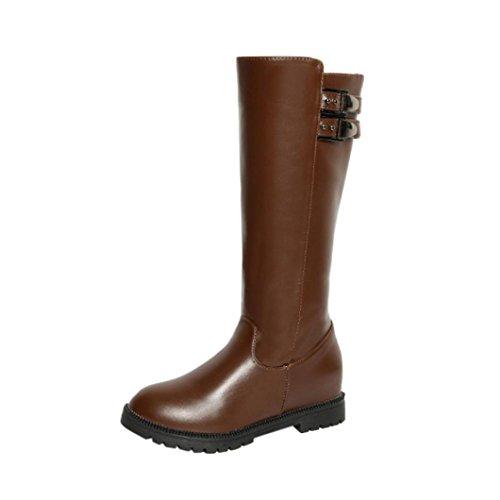 Stiefel Schuhe Jamicy® Beiläufiger Eleganter Winter Frauen Leder Schenkel hohe Stiefel über dem Knie Stiefel erhöhte flache Fersen Schuhe Braun