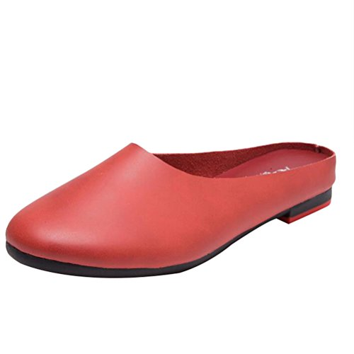 Minibee Women's Solid Leather Casual Slip-On Slipper Mule Loafer Flats Shoes Wine